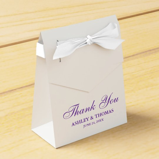 Elegant Wedding Thank You White and Purple Bowed Wedding Favour Boxes