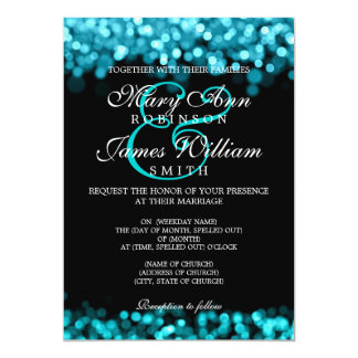 Elegant Wedding Turquoise Lights Card