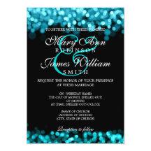 Elegant Wedding Turquoise Lights Personalised Announcement