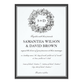 Elegant Wedding Vintage Floral Monogram Black Card