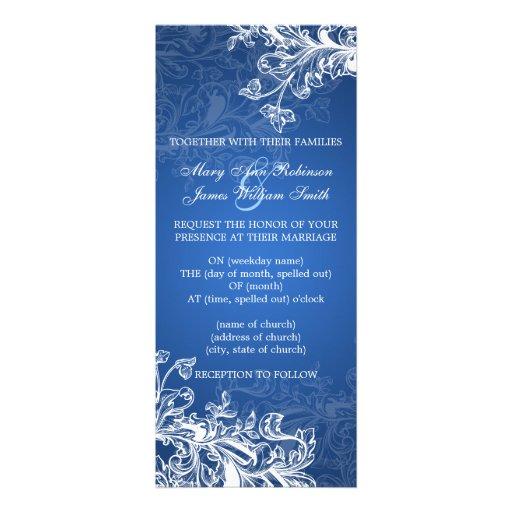 Elegant Wedding Vintage Swirls Blue Personalized Invite