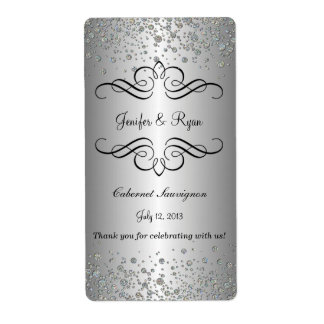 Elegant wedding wine label