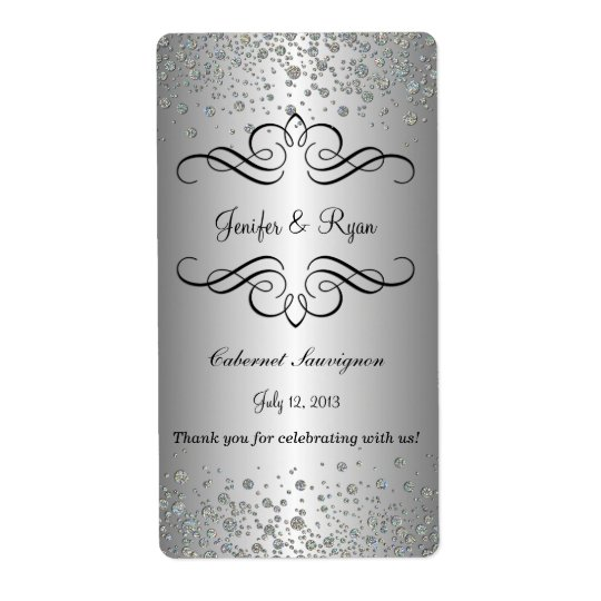 Elegant wedding wine label