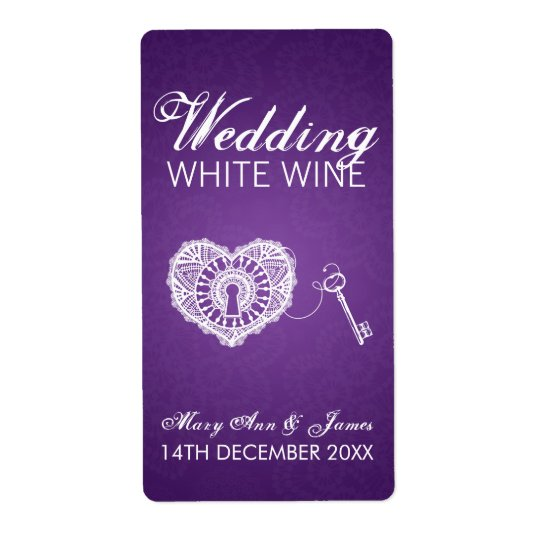 Elegant Wedding Wine Label Key To My Heart Purple
