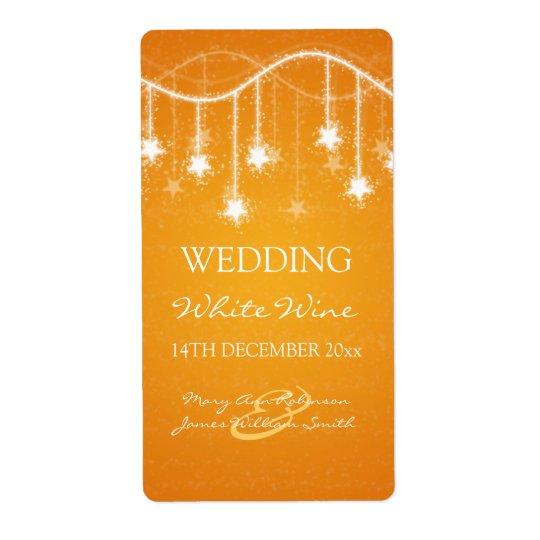 Elegant Wedding Wine Label Shimmering Stars Orange