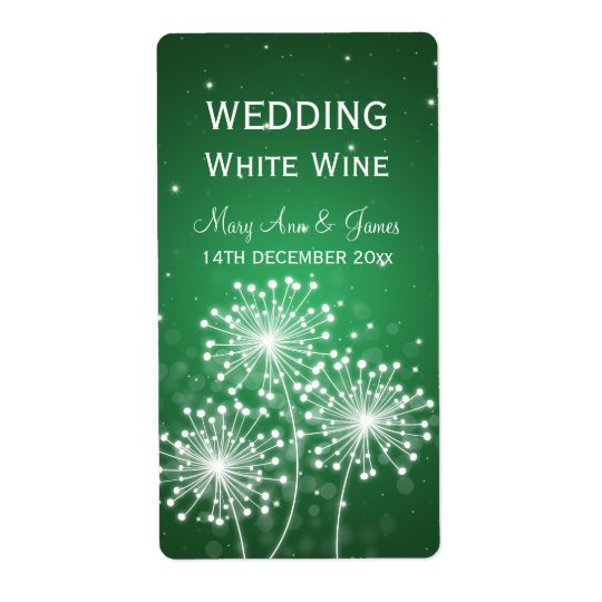 Elegant Wedding Wine Label Summer Sparkle Emerald