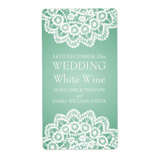 Elegant Wedding Wine Label Vintage Lace Mint Green