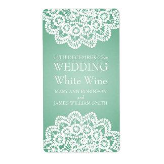 Elegant Wedding Wine Label Vintage Lace Mint Green Shipping Label
