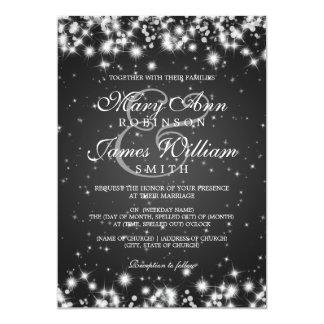 Elegant Wedding Winter Sparkle Black Card