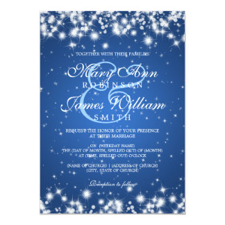 Elegant Wedding Winter Sparkle Blue Card