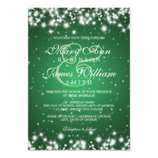 Elegant Wedding Winter Sparkle Green 13 Cm X 18 Cm Invitation Card