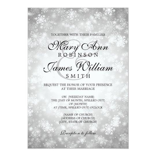 Elegant Wedding Winter Wonderland Sparkle Silver Card