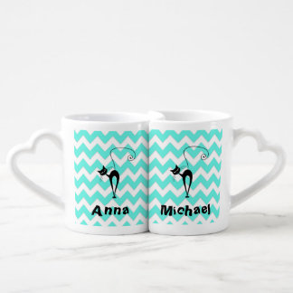 Elegant whimsical  black cat chevron / add name lovers mug