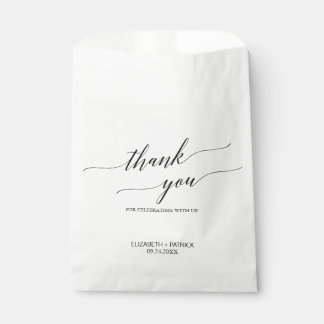 Elegant White and Black Calligraphy Thank You Favour Bags