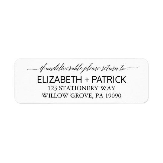Elegant White and Black Calligraphy Wedding Return Address Label