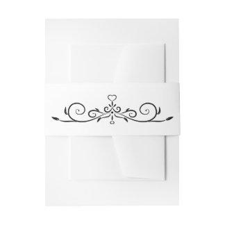 Elegant White and Black Heart Flourish Wedding Invitation Belly Band