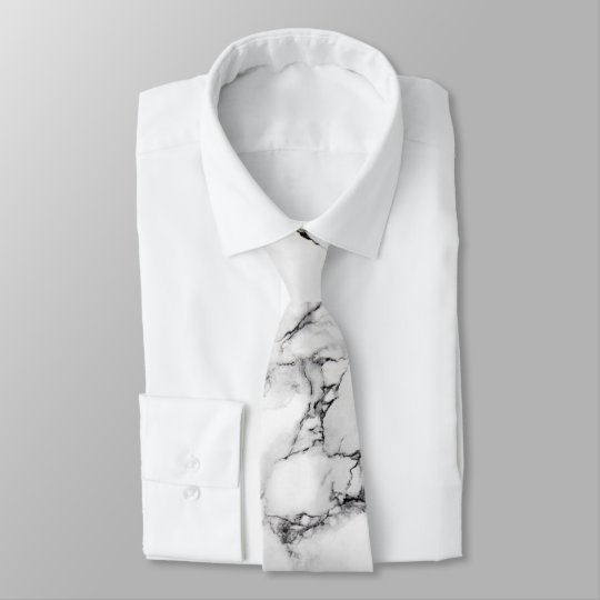 elegant white and black marble texture tie