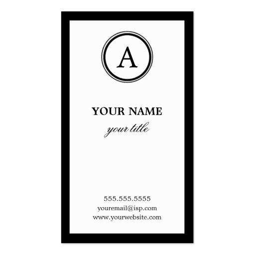 Elegant White and Black Monogram Business Cards