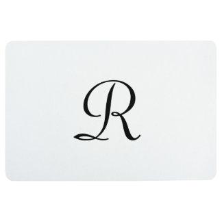Elegant White and Black Monogrammed Floor Mat