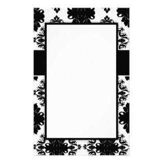 elegant white and black romantic damask personalized stationery