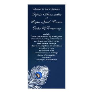 Elegant white and blue peacock programs rack card