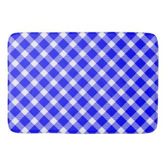 Elegant White And Blue Tartan Pattern Table Lamp Bath Mat