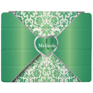 Elegant White and Emerald Green Damask Pattern iPad Cover