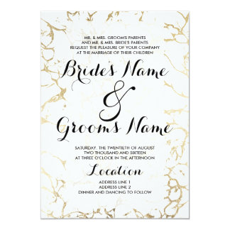 Elegant white and gold chic marble luxury wedding card
