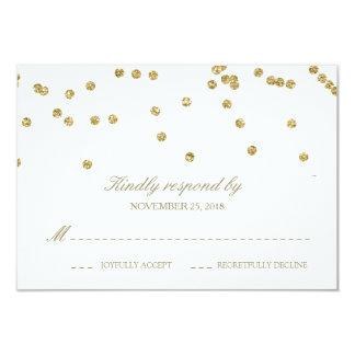 Elegant White and Gold Confetti Polka-Dots RSVP 9 Cm X 13 Cm Invitation Card
