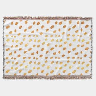 Elegant White and Gold Confetti Throw Blanket