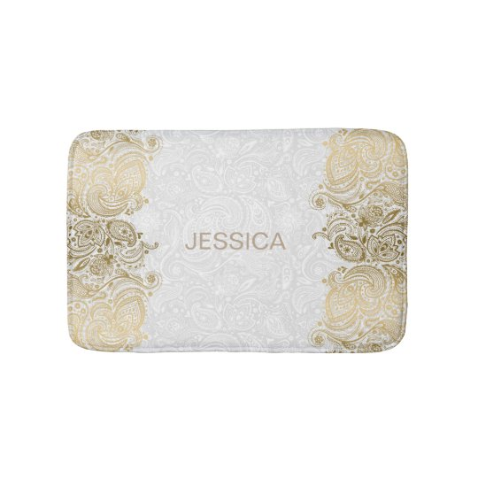 Elegant White And Gold Floral Paisley Lace Bath