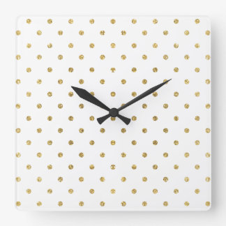 Elegant White and Gold Glitter Polka Dots Square Wall Clock