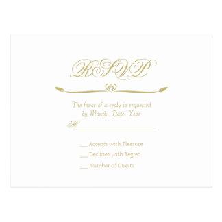 Elegant White and Gold Monogram RSVP Postcard