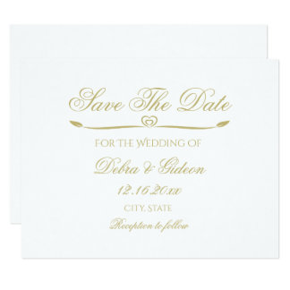 Elegant White and Gold Monogram Save the Date Card