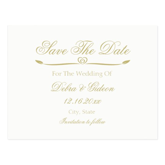 Elegant White and Gold Monogram Save the Date
