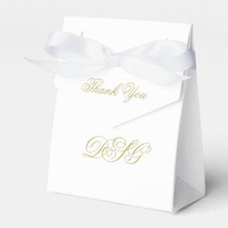 Elegant White and Gold Monogram Thank You Favour Box