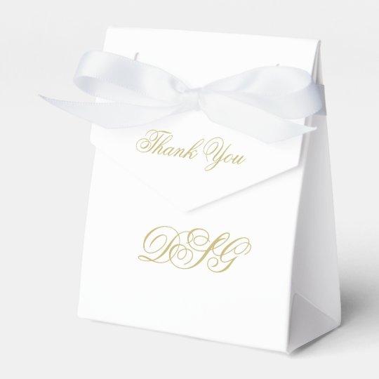 Elegant White and Gold Monogram Thank You Favour