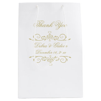 Elegant White and Gold Monogram Thank You Medium Gift Bag