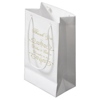 Elegant White and Gold Monogram Thank You Small Gift Bag