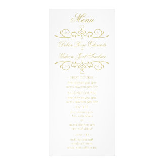 Elegant White and Gold Monogram Wedding Menu Personalised Rack Card