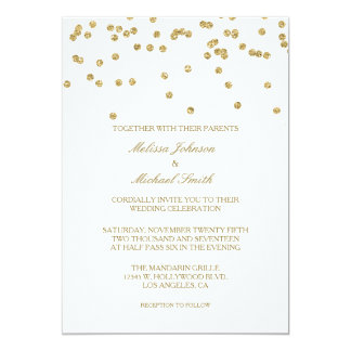Elegant White and Gold Polka-dots Confetti Wedding Card