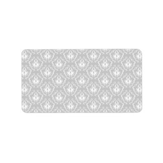 Elegant White and Gray Pattern. Damask. Address Label