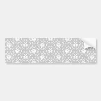 Elegant White and Gray Pattern Damask Bumper Sticker