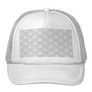 Elegant White and Gray Pattern Damask Mesh Hats