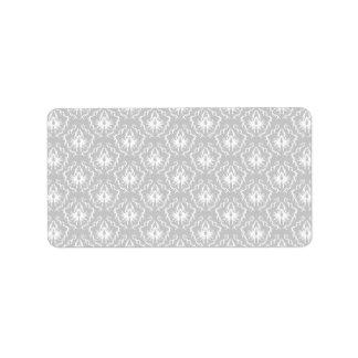 Elegant White and Gray Pattern. Damask. Label