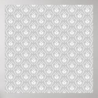 Elegant White and Gray Pattern. Damask. Print