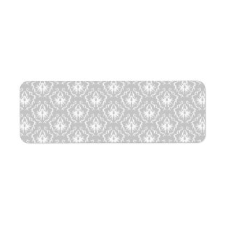 Elegant White and Gray Pattern. Damask. Return Address Label