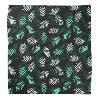Elegant White and Green Palm Leaves Bandana