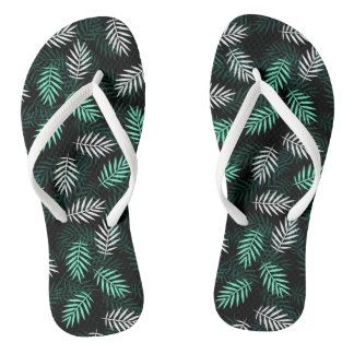 Elegant White and Green Palm Leaves Flip Flops