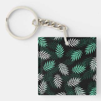 Elegant White and Green Palm Leaves | Keychain